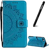 Slynmax Coque iPhone 8 Plus Bleu,Classique Simple Case de Fleur Bumper Etui de en PU...