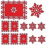 Whaline - Set di 12 tovagliette e sottobicchieri, Motivo: Fiocchi di Neve Rossi, per Feste di Natale, Vacanze Invernali, Matrimoni, cene