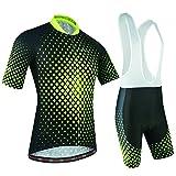 BXIO Completo Abbigliamento Ciclismo, Maglia Ciclismo Maniche Corte con Pantaloncini Abbigliamento da Ciclismo Asciugatura Rapida per MTB Ciclista, Reticolo di Griglia, Nero e Verde, L