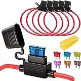 Gebildet 5 st 32 V 20 A vattentät säkringshållare, 16 AWG ATO-bladsäkringshållare i linje med en lock, standardplugguttag med