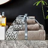 3piezas Juego de toallas Hotel de lujo y Spa toallas de baño de algodón suave muy absorbente toallas de baño de toallas de mano y toallas de cara de lavar a toalla de baño, perfecto para el hogar, piscina y gimnasio