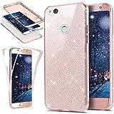 EINFFHO Huawei P8 Lite 2017 Hülle, 360 Full-Body Vorne+Hinten Rundum Schutz Tasche Etui Kristall Klar Glänzend Glitzer Durchsichtig Silikon Hülle Schutzhülle für Huawei P8 Lite 2017 (Rose Gold)