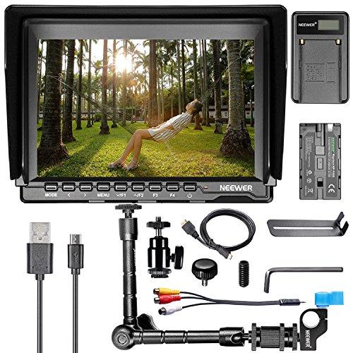 Neewer NW759 7' HD Monitor de Cámara Kit, Monitor de Cámara de Pantalla IPS 1280x800, Brazo Mágico 11', Cargador de Batería USB, Batería de Repuesto F550 para Sony Canon Nikon Olympus Pentax Panasonic