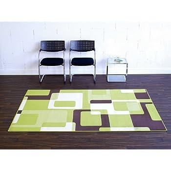 Teppich Retro Grun Beige Braun Wohnteppich Teppich Moderner