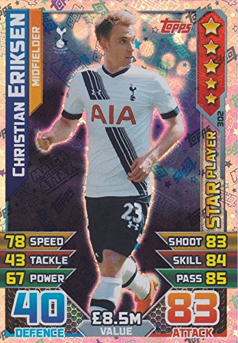 6 Christian Eriksen Star Player Trading Card 15/16 (Eriksen Match Attax)