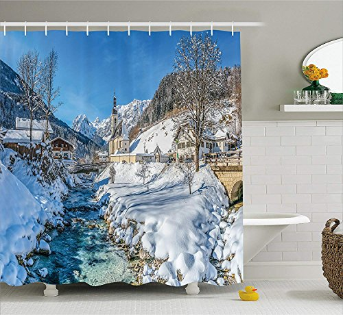 Jolly2T Farm House Decor Shower Curtain by, Winter Bavarian Alps High Ice Creek Forest Salzburg Austrian Retro Print, Fabric Bathroom Decor Set with Hooks, 60 x 72 Inches, Blue White Creek-snap