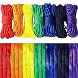 UOOOM 7er Paracord Regenbogen Farben Armband Set Seile Schnüre Nylon Seil DIY Handgemachte Webart für Armband Schlüsselanhänger Knüpf Anhänger