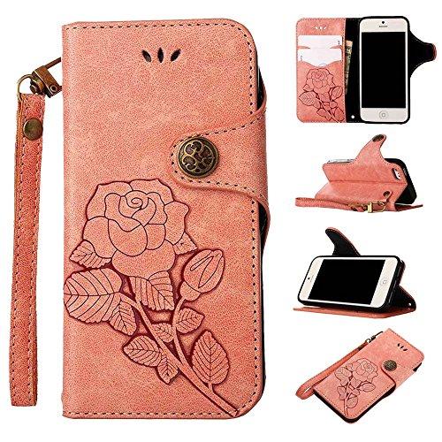 Custodia iPhone 5 / 5S / SE, COOSTOREEU Retro Embossed Roses Magnetic Slotted Wallet Case+ Cinghia di Polso Smontabile Progettazione per Apple iPhone 5 / 5S / SE, Blu Rosa