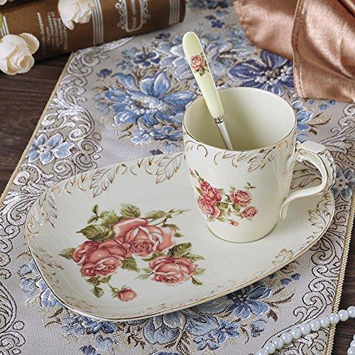 Panbado 3 tlg. Kaffee Set, Elfenbein Porzellan Kaffeetassen 300 ml mit Löffel und Untertassen als...