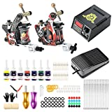 Solong Tattoo Maschine Set Profi Komplett 2 Tattoo Maschine Liner Shader Guns 7 Farben Inks Tinte mit der Nadel 1 Netzteil 30 Farbe Cups für Anfänger Tätowierung Kit Make Up Beauty Tool TK216