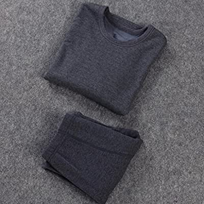 Liang Rou Men's Stretch Crew Neck Fleece Lined Thermal Long Sleeve Tops
