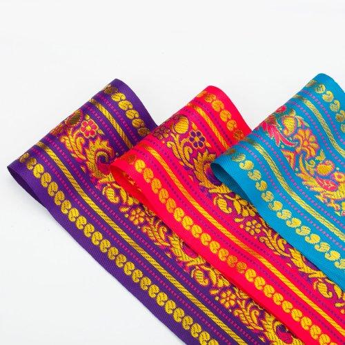 Neotrims Paisley Peacock Ruban indien pour sari/salwar kameez 9 cm Ruban indien Motif floral Largeur 9 cm Ruban traditionnel coloré pour sari Motif floral et jacquard Disponible en 3 couleurs : turquoise, cerise ou violet.