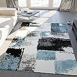 Teppich Modern Designer Abstrakt Kariert Meliert Farbe Turkis Grau Schwarz – VIMODA; Maße: 200x290 cm