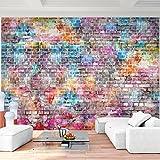 Fototapete Ziegelmauer 3D Bunt 396 x 280 cm Vlies Wand