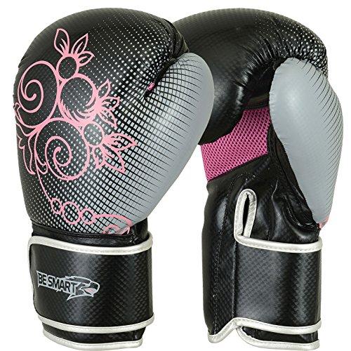 Echte Gel-Boxhandschuhe für Damen, rosa, fürs Fitnessstudio, Boxsack, Kickpolster, gemischte Kampfkünste und Thaiboxen, damen, rose, 6 Oz