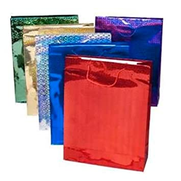 Gift Bag Large Holographic - Pack of 4 - Assorted Colours: Amazon ...