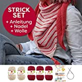 Myboshi Strick-Set Dreieckstuch Surprise: 5 x Strickwolle Lieblingsfarben No.2 + Strickanleitung + Rundstricknadel + selfmade Label Wollfarben: (Chillirot / Elfenbein)