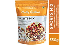 Nutty Gritties Sports Mix - Roasted Almonds, Cashews, Pistachios, Dried Blueberries, Cranberries and Raisins - 350 GMS
