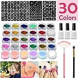 SunTop Kit Tatouage Glitter, Tatouages temporaires Peinture pour le visage, Maquillage de Fête(Halloween)Avec 24 Couleurs Brillantes, 108 Feuilles avec Motif de Tatouage à Thème Unique,Glitter Body Ar