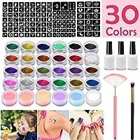 SunTop Kit de Tatuajes Temporales, Tatuaje de Brillo, con 24 Colores de Brillo y 6 Polvo Luminosos, 118 Hojas Únicas Plantilla de Tatuaje Temático