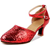 OCHENTA Donna Pelle paillettes Scarpe a punta tacco gattino di ballo scarpe da ballo latino