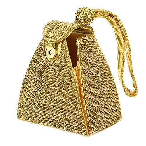 Femmes dames soir Sac à main diamante bracelet mariage prom poche forme (Or, Argent, Noir, Champagne)