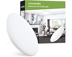 Novostella Plafonnier LED 18W 1800LM Blanc Froid 6000K Rond 30CM, Lampe Salle de Bain IP65 Étanche Mince, Lampe de Plafond po