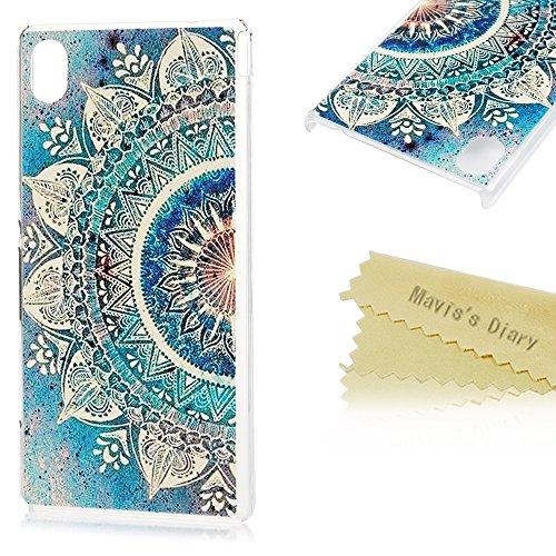 Mavis's Diary Case für Sony Xperia M4 Aqua Tasche PC Hardcase Plastik Case Schutzhülle Bunte Aufdruck Muster Bumper Halfe Blumen Durchsichtig Handycover Handyhülle