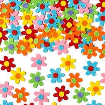 Baker Ross Lot de 60 Fleurs Autocollantes en Feutre de 6 coloris différents - Idéal pour la décoration de carte