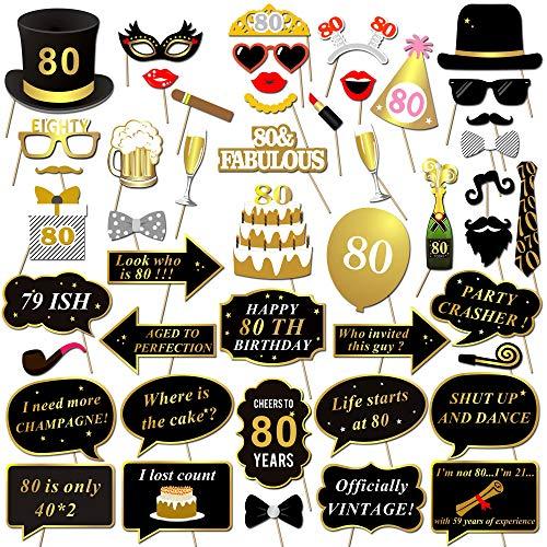 Howaf 80. Geburtstag Photo Booth Props, 48pcs Lustige 80. Geburtstags Foto Requisiten Fotoaccessoires Schwarz Gold Schnurrbart Maske Hut auf Stick für Mann Frau 80. Geburtstag deko Party Zubehör