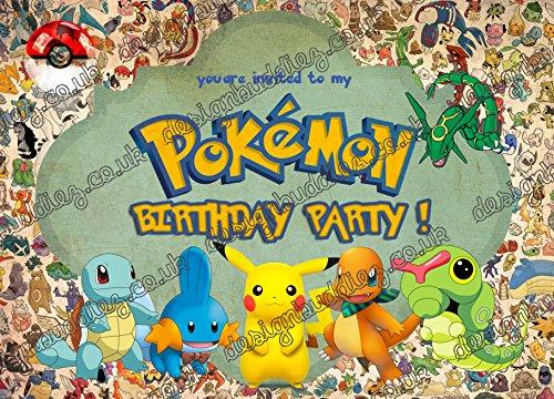 design buddies 20 x Pokemon, Pokemon Go Kindergeburtstagseinladungen, ohne Umschläge, 20 Stück