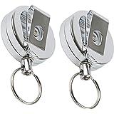 Lot de 2 porte-clés rétractables en argent pour badge d'identification