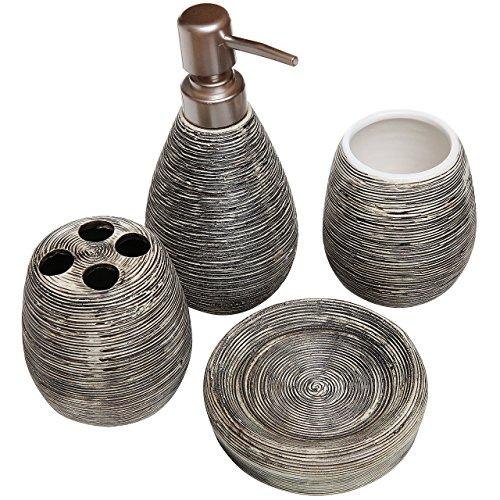 Badezimmer Set, 4 Teilig, Strukturierte Keramik, Seifenschale,  Seifenspender, Zahnbürstenhalter