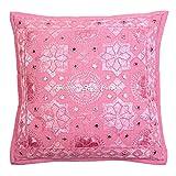 Stylo Culture Indische Spiegel Bestickt Baumwolle Throw Kissenbezug Rosa 40 x 40 Stern Mond Kissenbezug