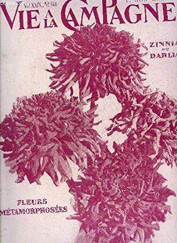 VIE A LA CAMPAGNE N° 346 ZINNIA OU DAHLIA. = Couverture.BUTTÉE D'ALLÉE dans le Parc de la Villa « Les Bruyères ». = Frontispice. LA GÉNÉTIQUE DU ZINNIA ÉLÉGANT. =* Par Albert Maumené. =Avec 4 illMétamorphose des Fleurs.