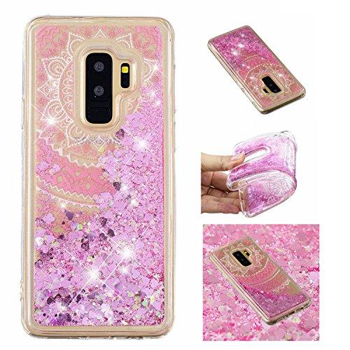 Floral Flüssigkeit (Shinyzone Glitzer Flüssigkeit Hülle für Samsung Galaxy S9,Mandala Blume kreativ 3D Gemalt Muster Handyhülle,Bling Treibsand Liebe Herz Fließend Weich TPU Schutzhülle)