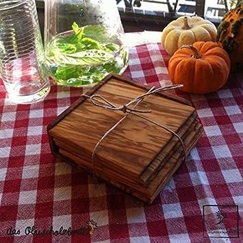 Esstisch Olivenholz untersetzer set 6 teilig aus olivenholz viereckig maß 8cm x 8cm