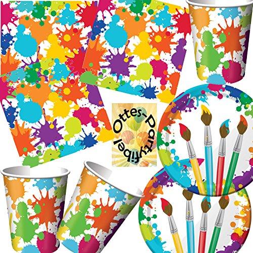 Künstler-Party Pinsel Kleckse Partyset 48tlg. Teller Becher Servietten für 16 Maler (Geburtstag Party Dekorationen Künstler)