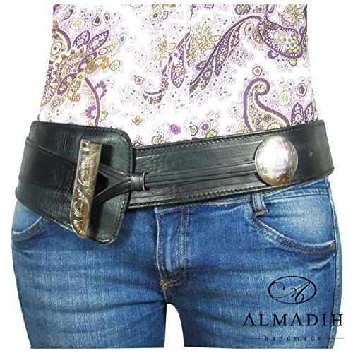 ALMADIH Ledergürtel Adventure - 100% Handarbeit aus Rindsleder Sattelleder - Leder Hüftgürtel Damengürtel Taillengürtel Vintage (Schwarz)