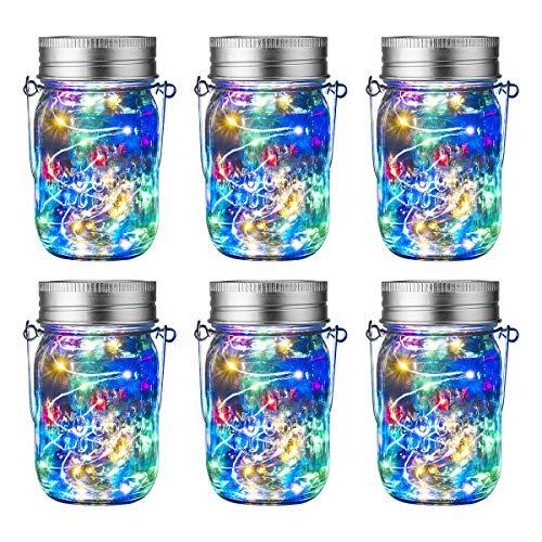 GIGALUMI Solar Mason Jar Leuchte 6 Pack Bunt Einmachglas Solar Laterne Lichterkette Wasserdicht Warmweiß Hängeleuchten für Garten Party, Weihnachten, Hochzeit