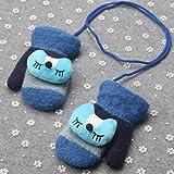 Prevently brand new Bright color popular cute Little Fox addensare caldo bebè bambina ragazzi di inverno guanti caldi Gift, Blue