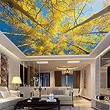 Rureng Große Decke Wandbild 3D Tapete Wohnzimmer Baum Fototapete Foto Gelb Wandbild-400X280Cm