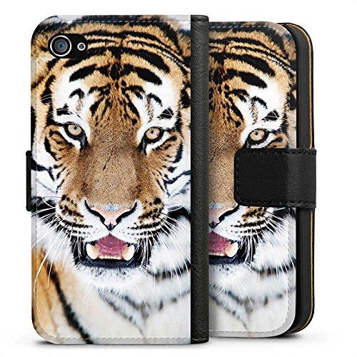 Apple iPhone X Silikon Hülle Case Schutzhülle Tiger Raubkatze Großkatze Sideflip Tasche schwarz