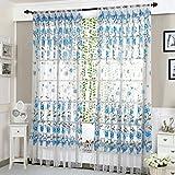 Bescita 78.7*39.4'' Vines Leaves Tulle Door Window Curtain Drape Panel Sheer Scarf Valances for Bedroom Bathroom Living Room Children's Room