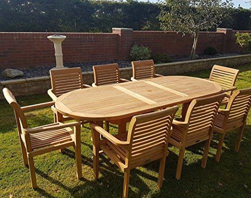Teak Esstisch Stühle (Teak Gartenmöbel Ausziehbarer Teak Esstisch mit 8Stühlen stapelbar)