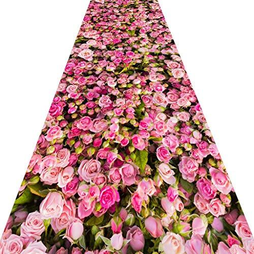 SESO UK- Hirten Teppich Läufer für Flurtreppenkorridor, romantischer Handelshaushalts Blumen Hall Teppich Runner (Size : 90×450cm)