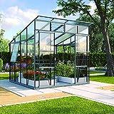 Freya 7600 Alu-Gewächshaus ESG 3 mm Treibhaus Anthrazit Gartenhaus inkl. Fundament