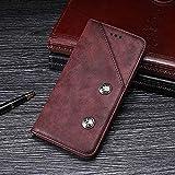 Yhuisen Handy-Taschen & Handy-Hüllen, Retro-Art-echtes Qualitäts-Geschäfts-PU-Leder-Schlag-Mappen-Kasten-Abdeckung mit Karten-Schlitz/Stand für Samsung-Galaxie J6 Europa-Version (Farbe : Rot)