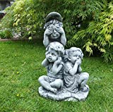 Steinfigur Mädchen Junge Kinder 3 Weisen nichts sehen, sagen, hören Steinguss