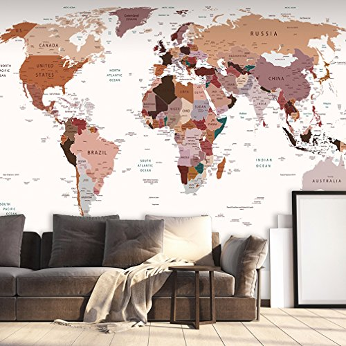 decomonkey | Fototapete Weltkarte Landkarte Kontinent 400x280 cm XXL | Tapete | Wandbild | Bild | Fototapeten | Tapeten | Wandtapete | Wanddeko | Wand Dekoration WandDekoration | Rose | FOB0211c84XL